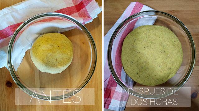 masa antes y después de la fermentación